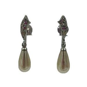 Marvella Faux Pearl Rhinestone Screw Back Earrings